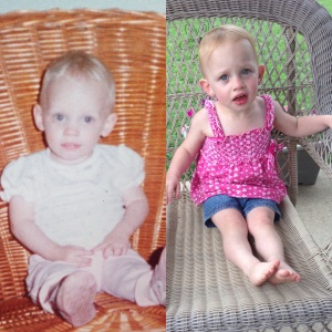 1984 and 2014. Same age. Same face. Same weird habit of taking cushions off chairs.