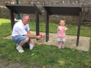 Playing bubbles with Grandpa