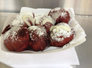 Red velvet fried oreos.