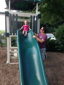 Big girl on the big slide!