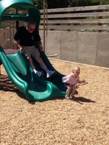 Sliding with Grandpa.