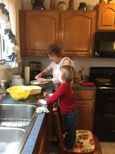 Helping Nana make potato salad