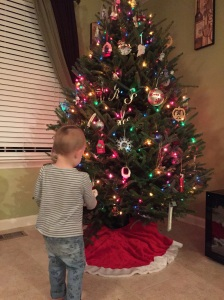 Helping Mama decorate the tree