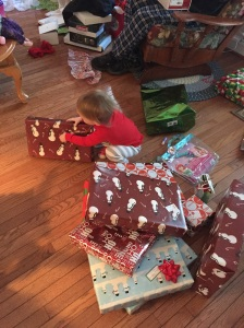 Big girl opening presents!