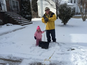 Helping Papa with the snow!
