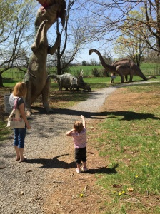 Showing Mommy the dinosaurs